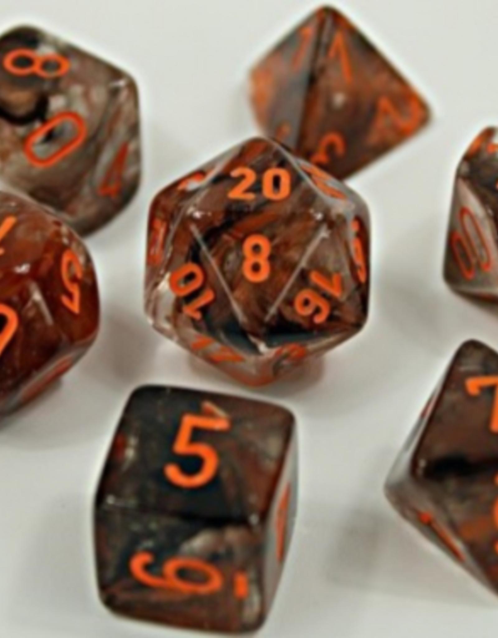 Chessex Dice Block 7ct. - Nebula Copper-Matrix/Orange Glow