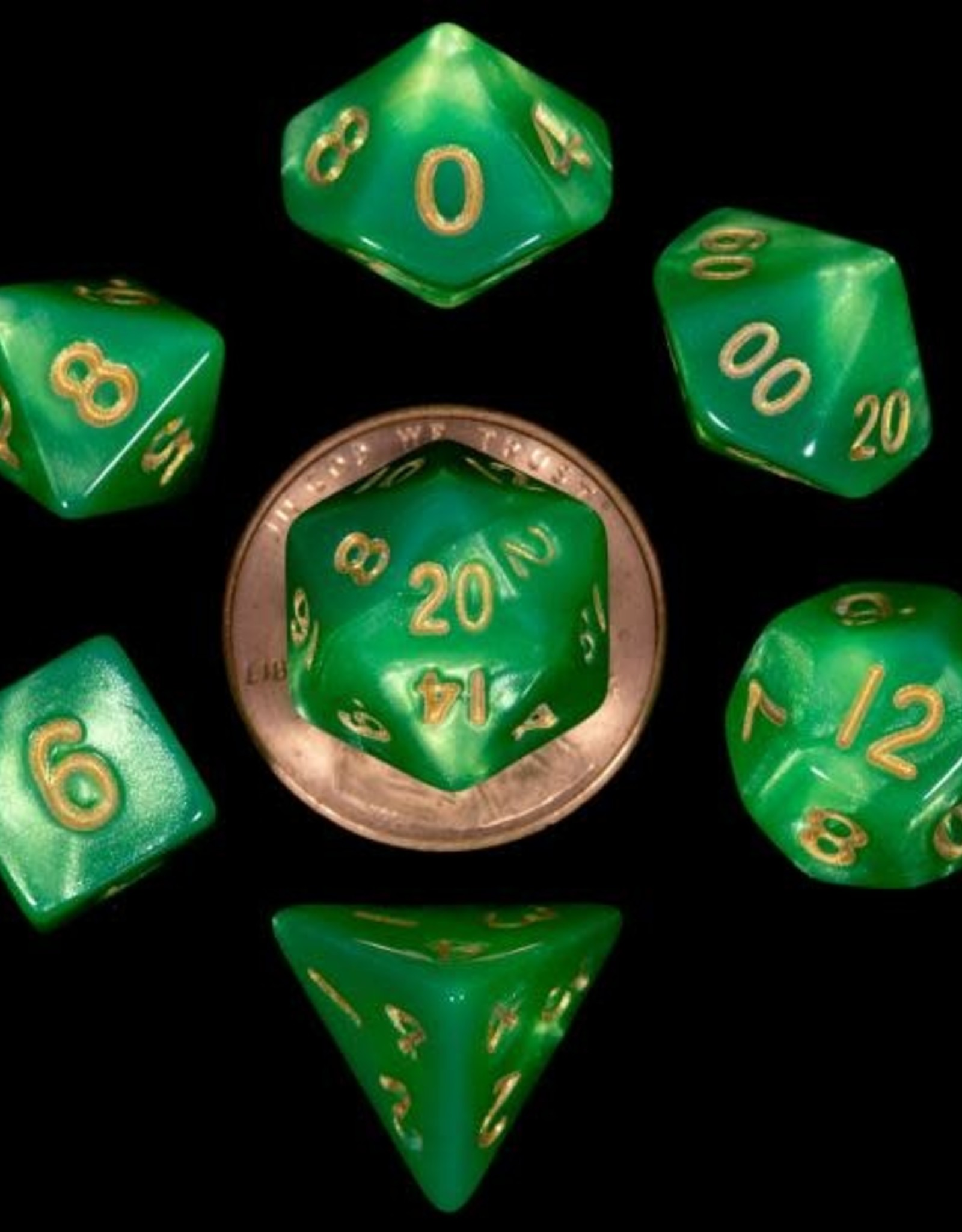 Metallic Dice Games Mini Dice 7 ct. Green w/ Gold