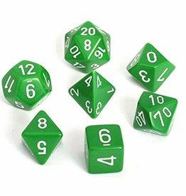 Chessex Dice Block 7ct. - Green/White