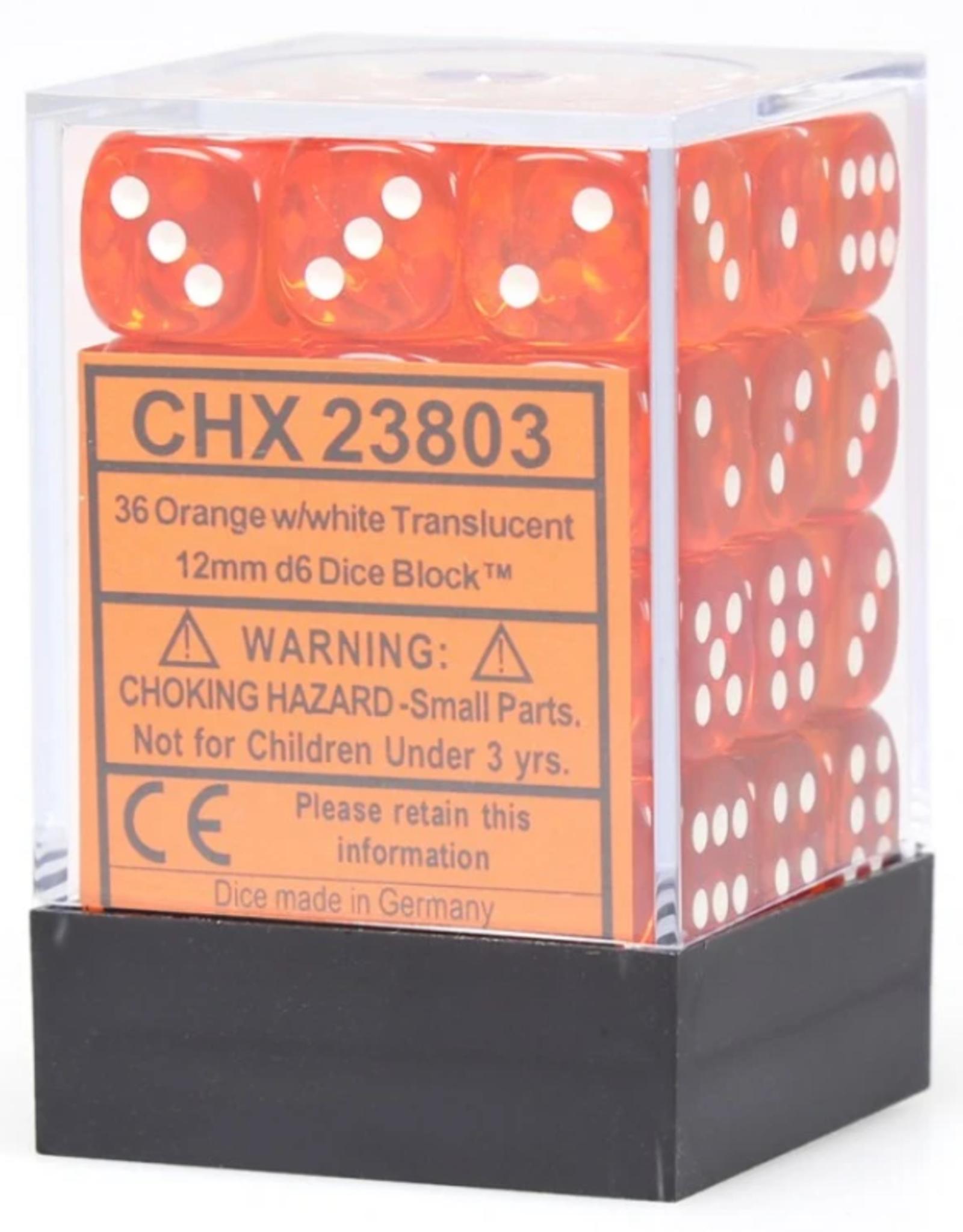 Chessex Dice Block D6 12mm 36ct. - Translucent Orange/White