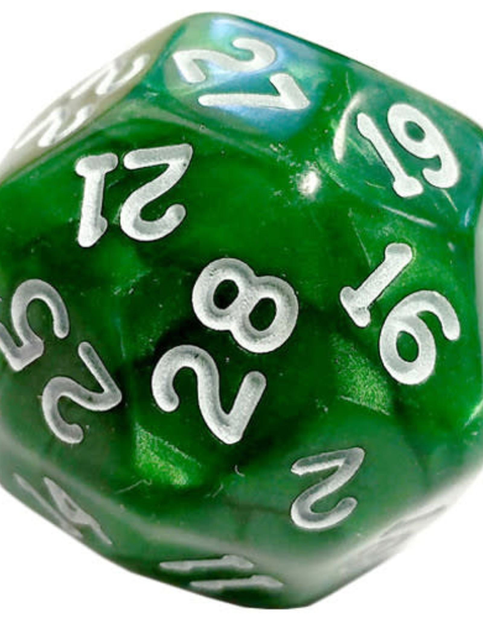 Chessex D30 Pearlescent - Green With White