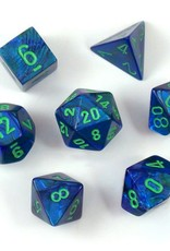Chessex Dice 7ct Lustrous Dark Blue W/Green Dice Set