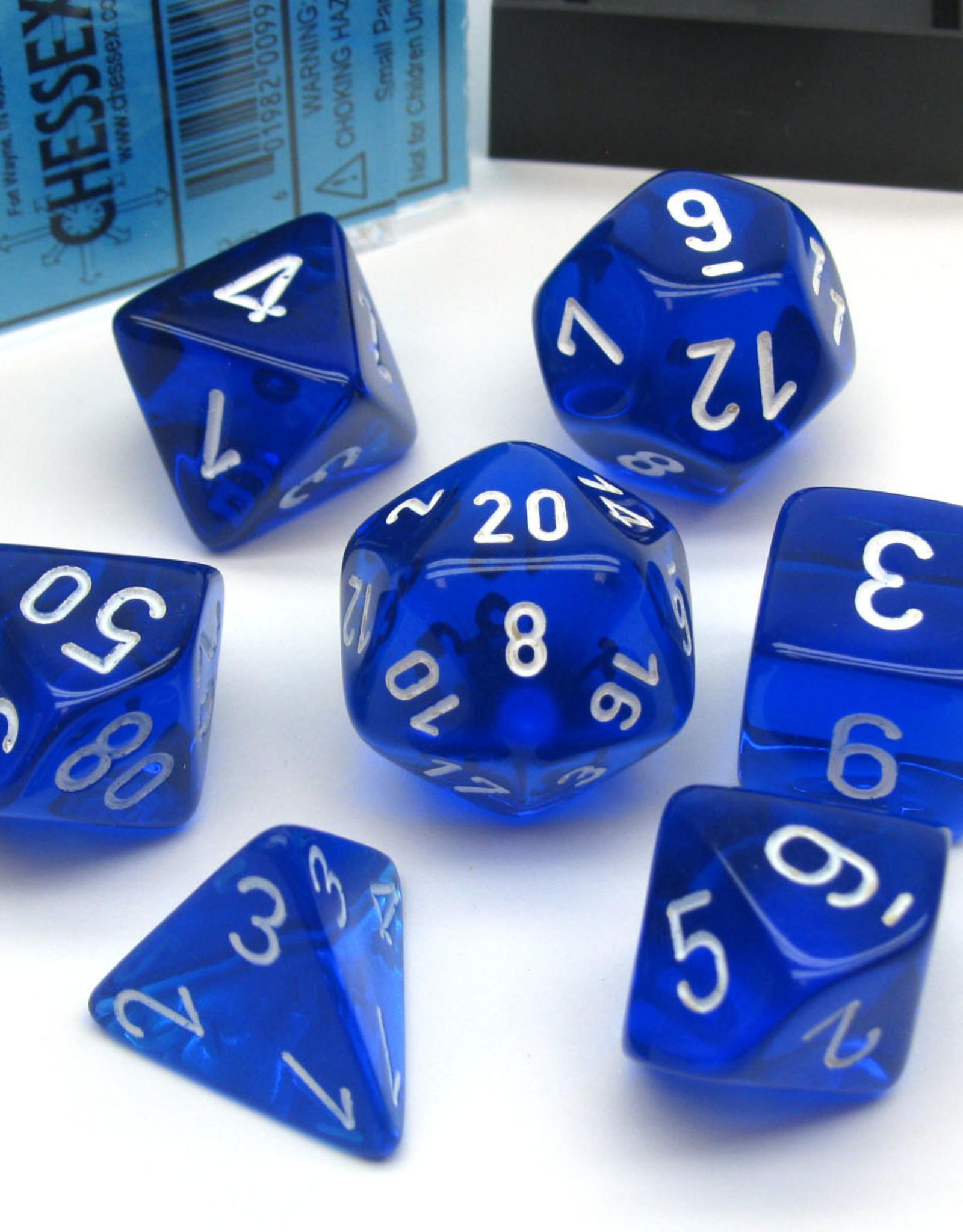 Chessex Dice Block 7ct. - Trans Blue/White