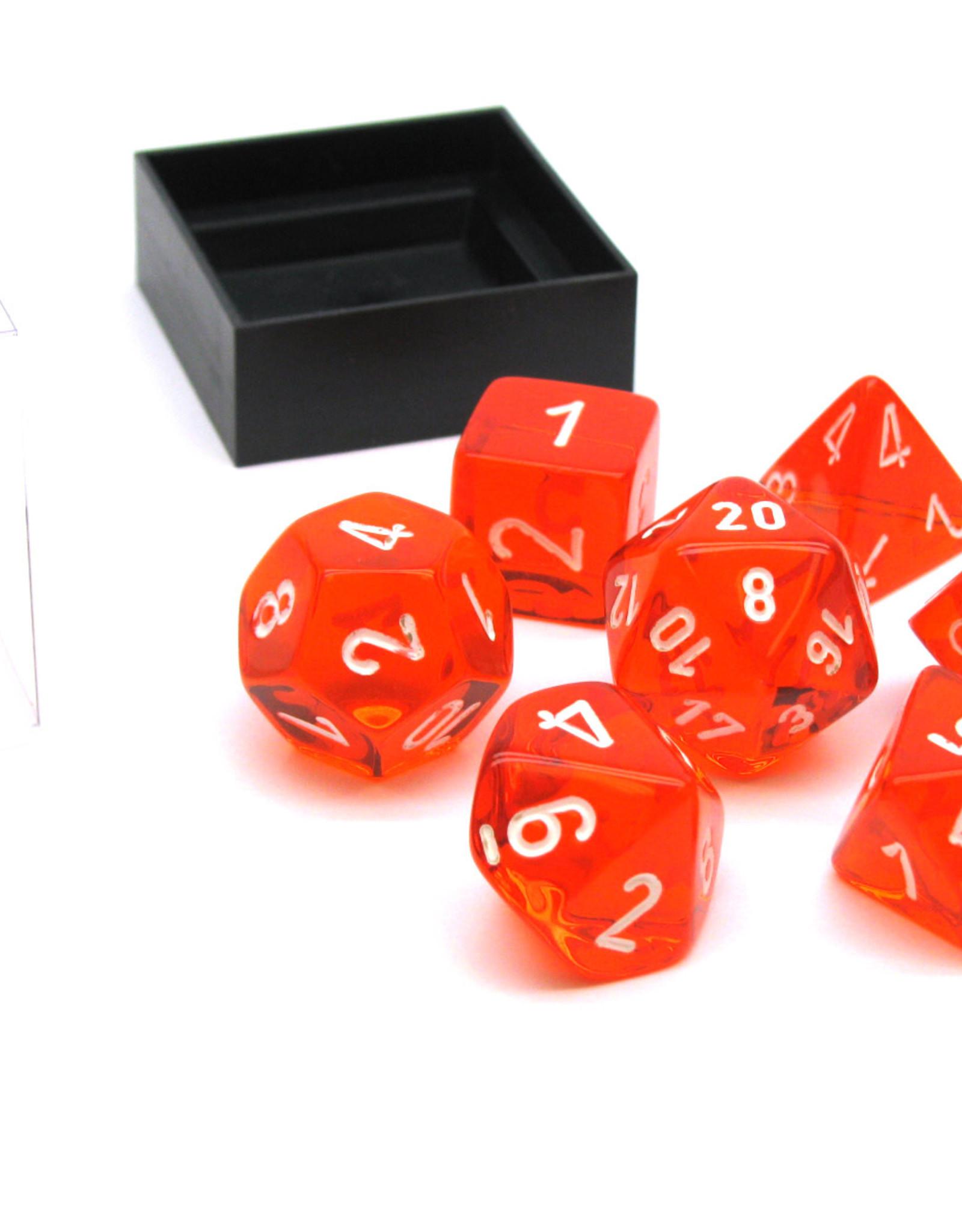 Chessex Dice Block 7ct. - Trans Orange/White