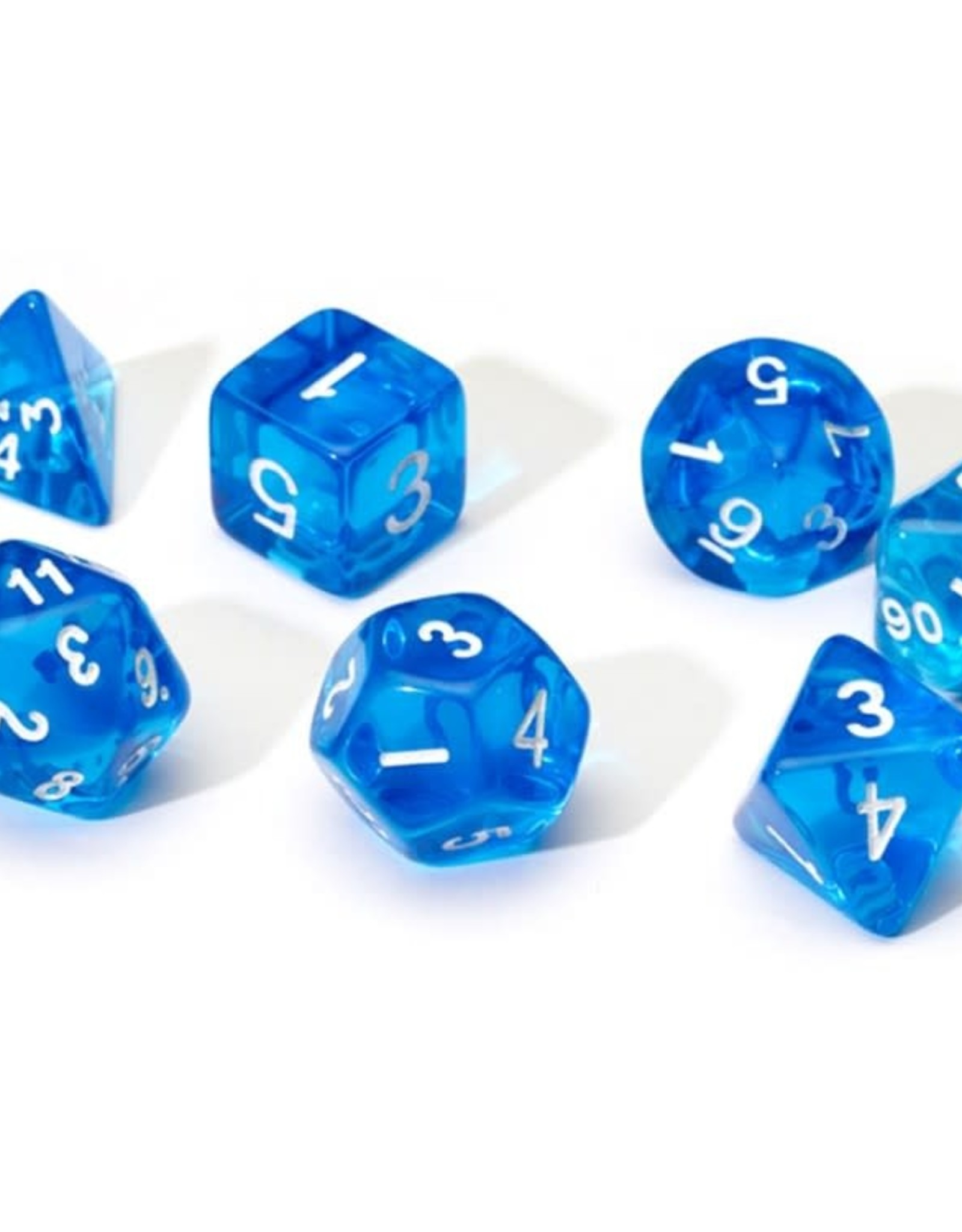 Sirius Dice 7ct Translucent Poly Dice Set Blue w/White