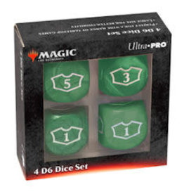 Ultra Pro Magic the Gathering: Deluxe Loyalty Dice Set (4 D6 22mm) - Green