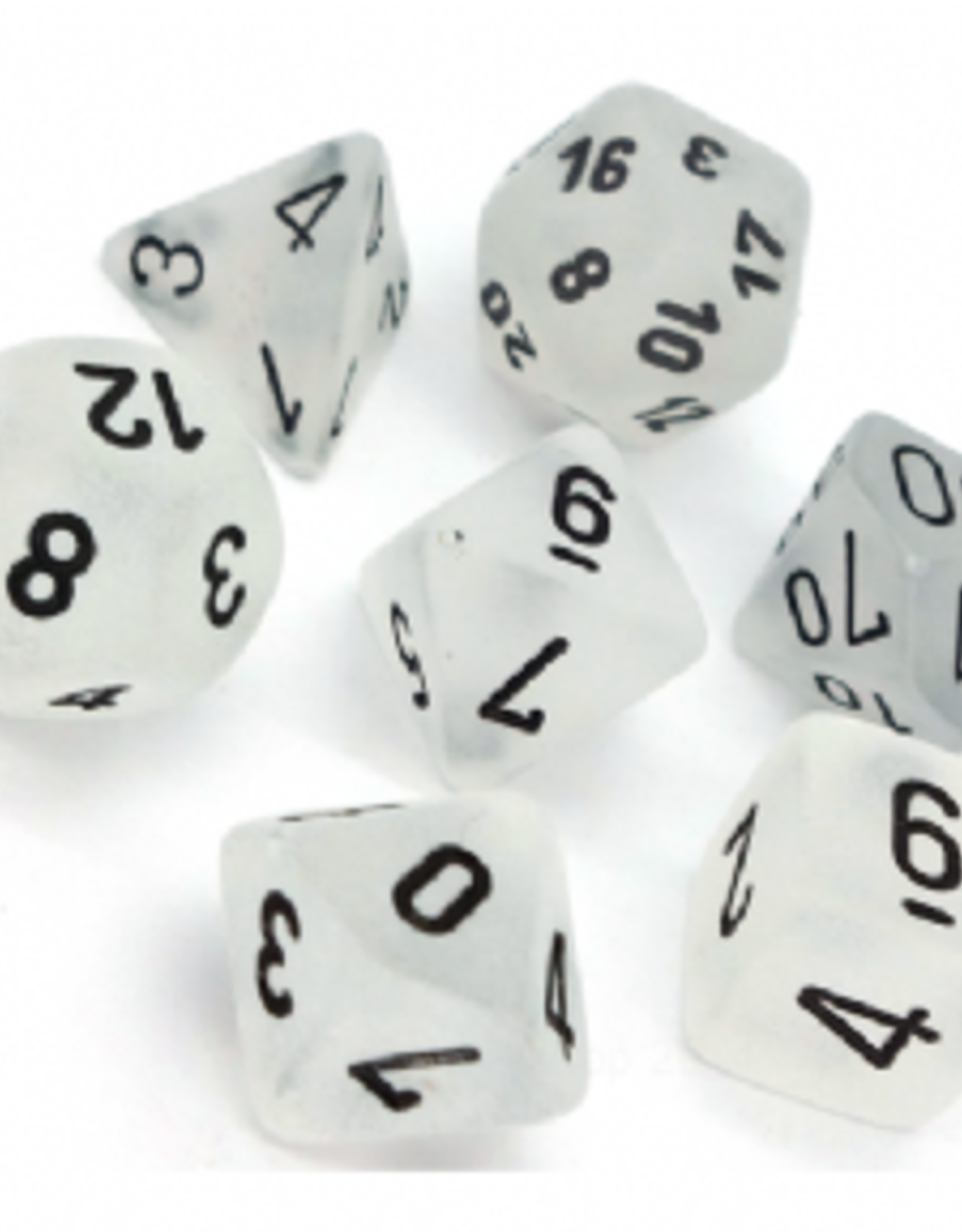 Chessex Dice Block 7ct. - Frosted Clear/Black