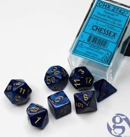 Chessex Dice Block 7ct. - Scarab Royal Blue/Gold