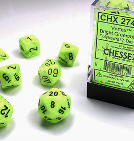 Chessex Dice Block 7ct. - Vortex Bright Green/Black