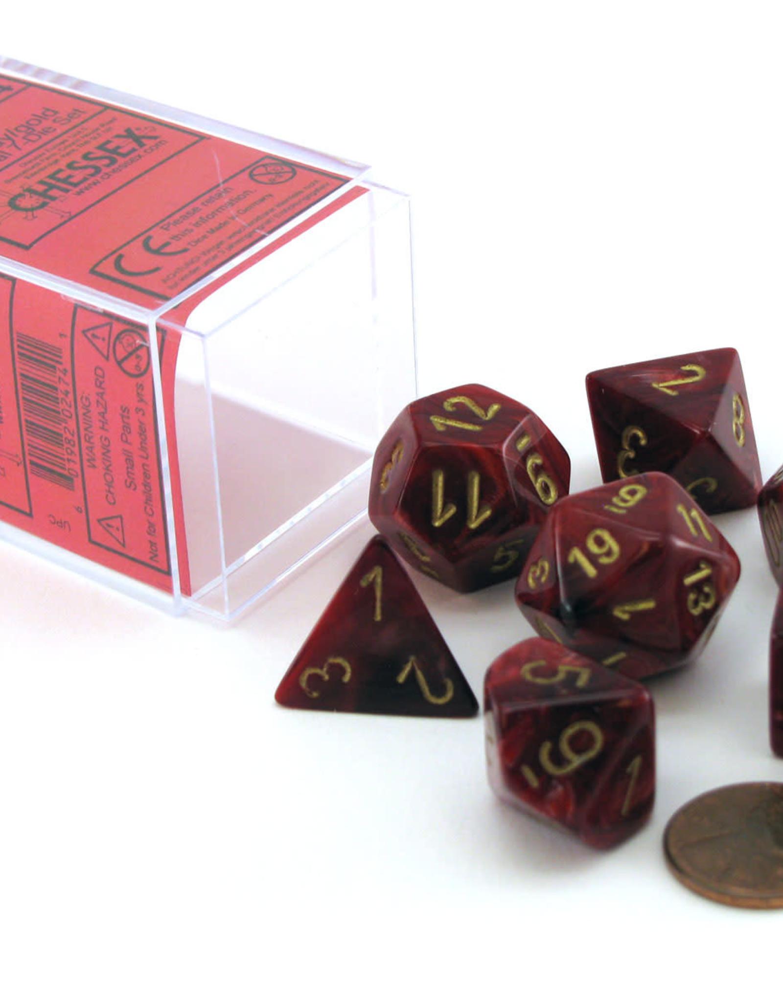Chessex Dice Block 7ct. - Vortex Burgundy/Gold