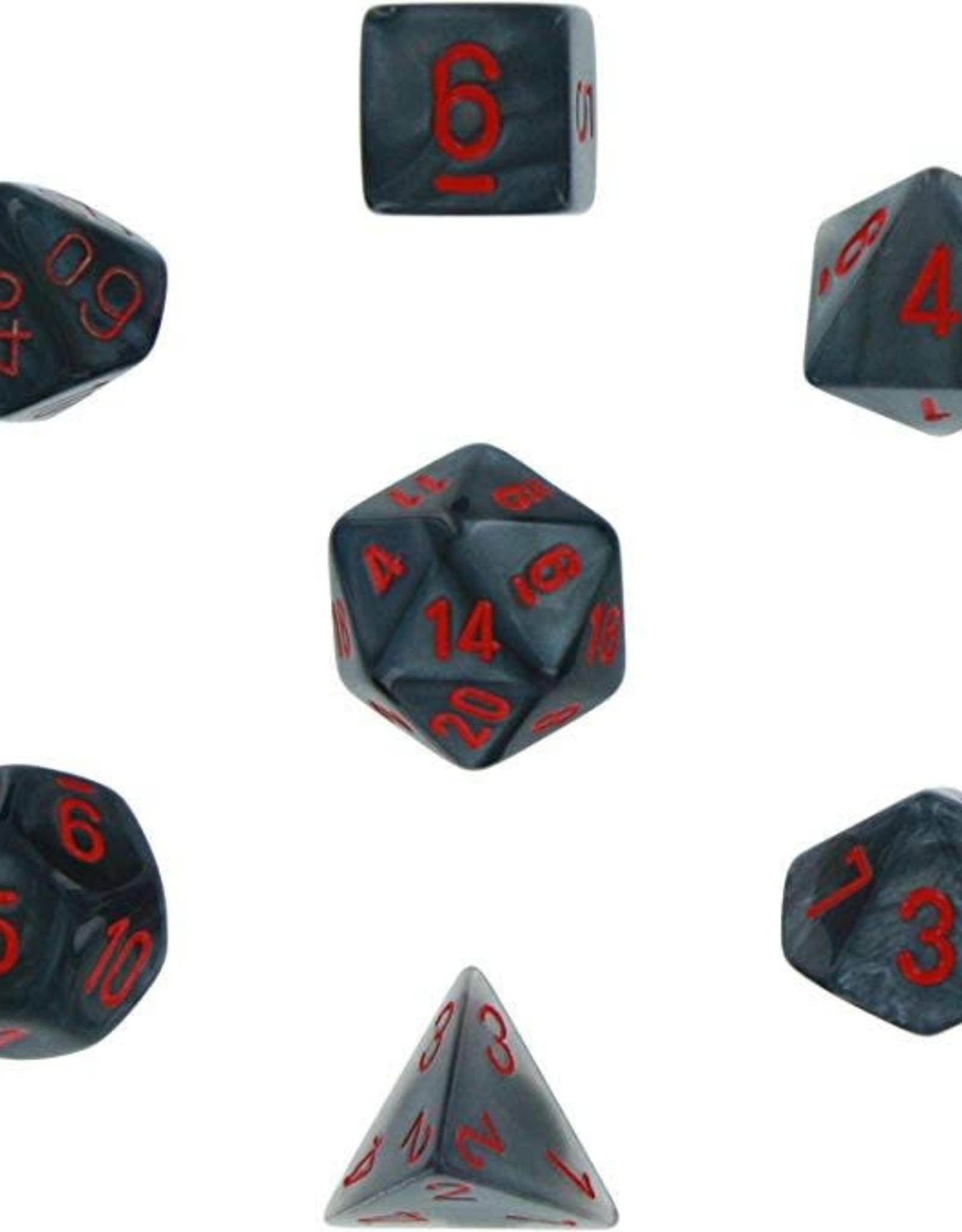 Chessex Dice Block 7ct. - Velvet Black/Red