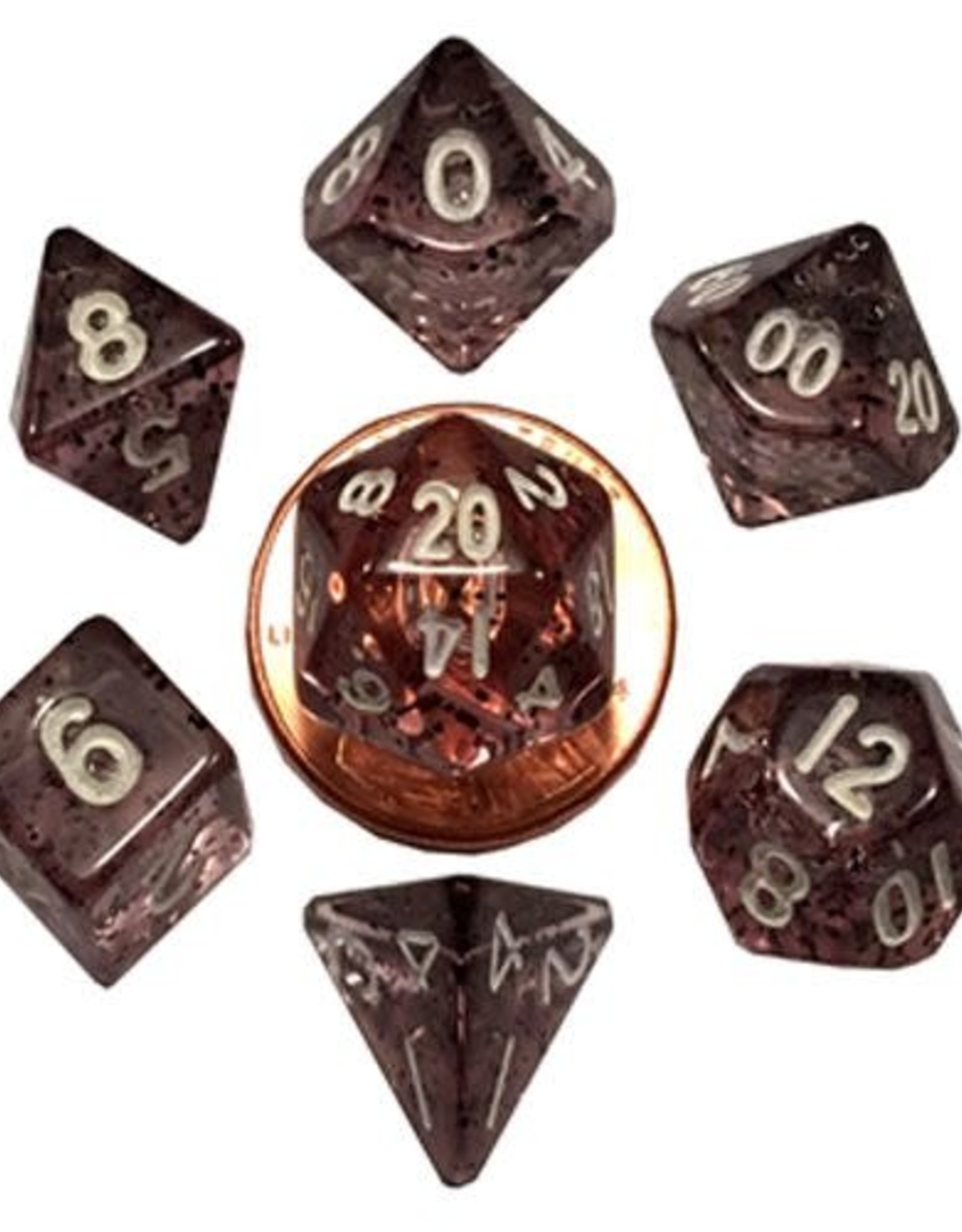 Metallic Dice Games Mini Dice 7ct. - Ether Black w/White