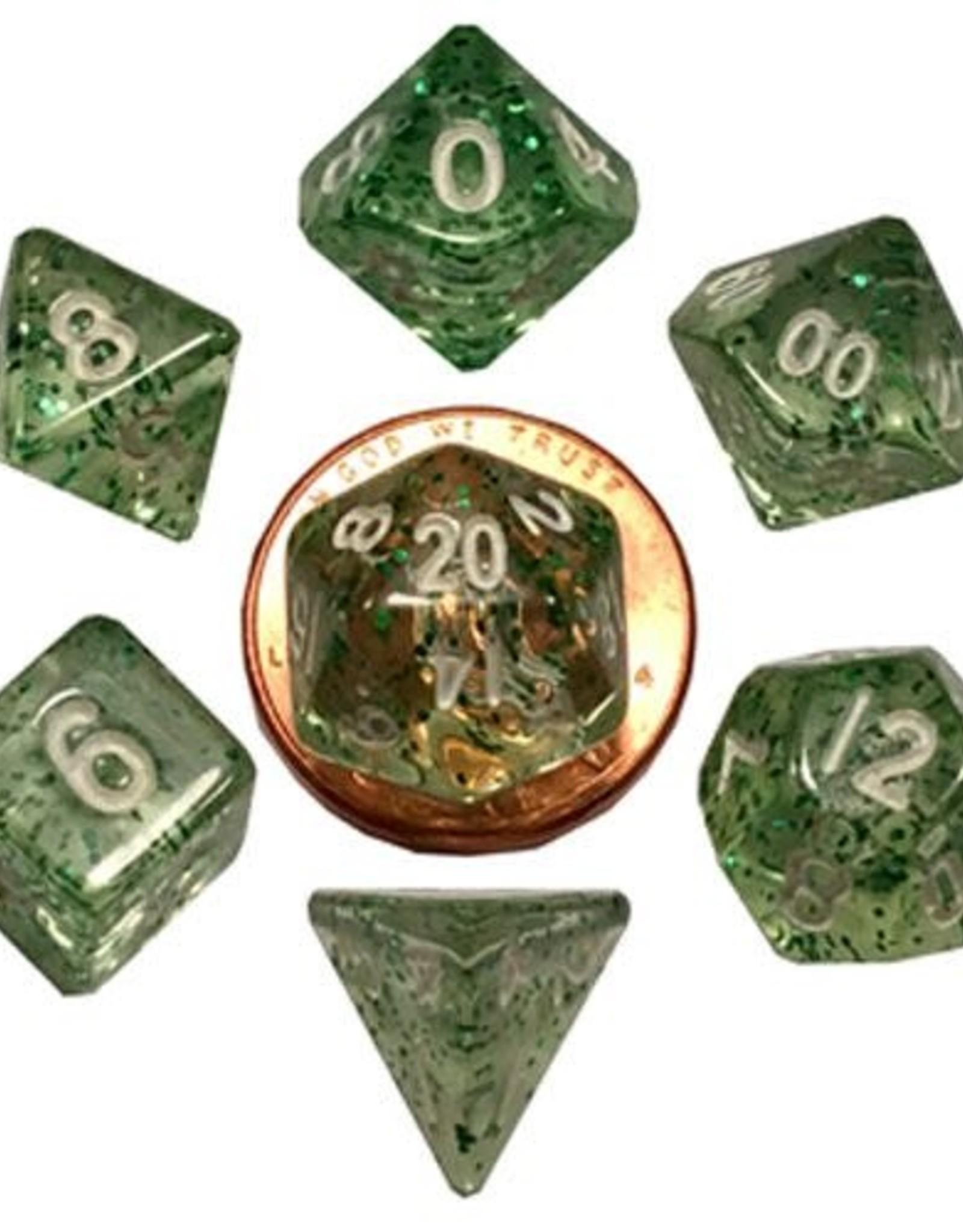 Metallic Dice Games Mini Dice 7ct. - Ether Green w/White