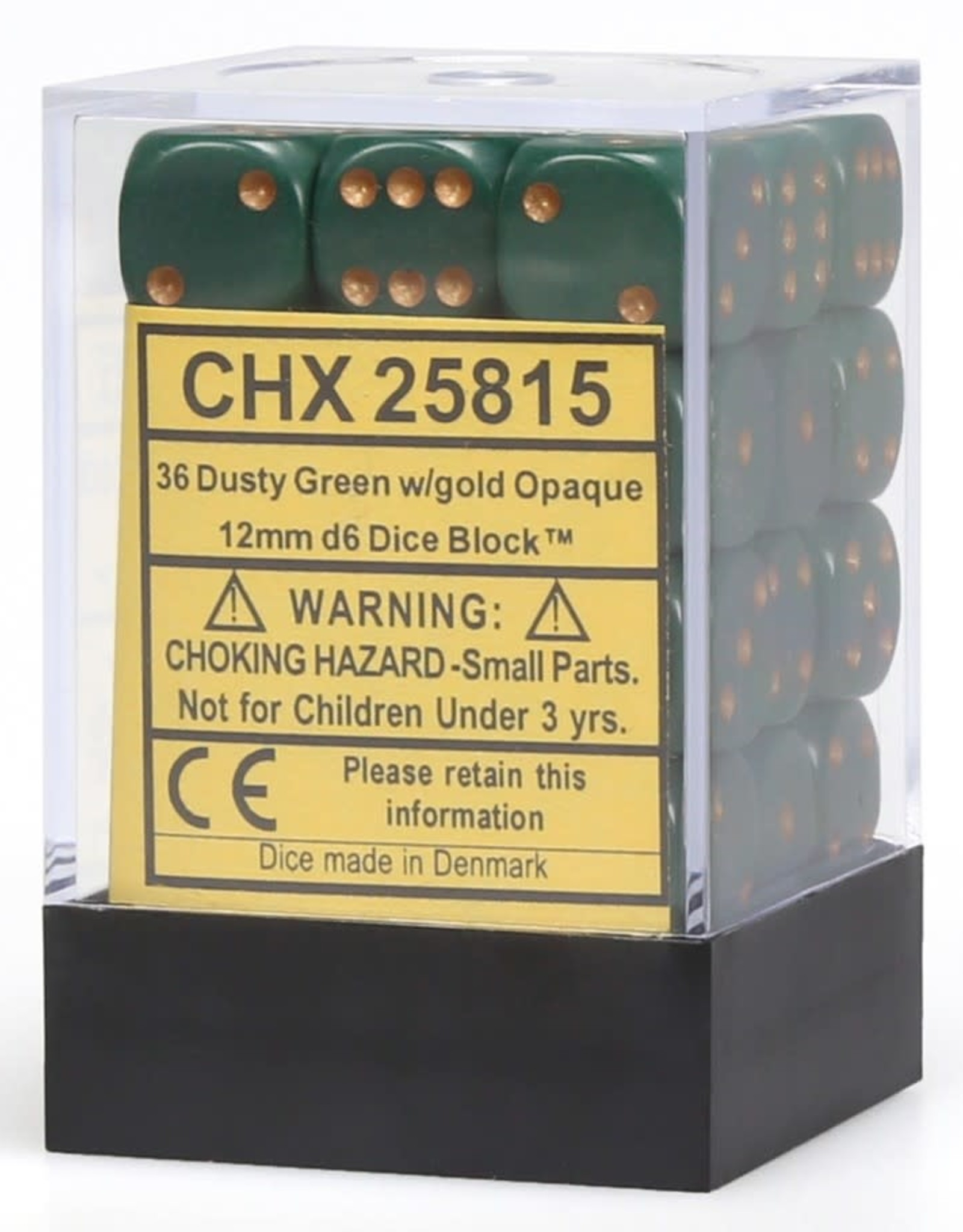 Chessex Dice Block D6 12mm 36ct. - Dusty Green/Copper
