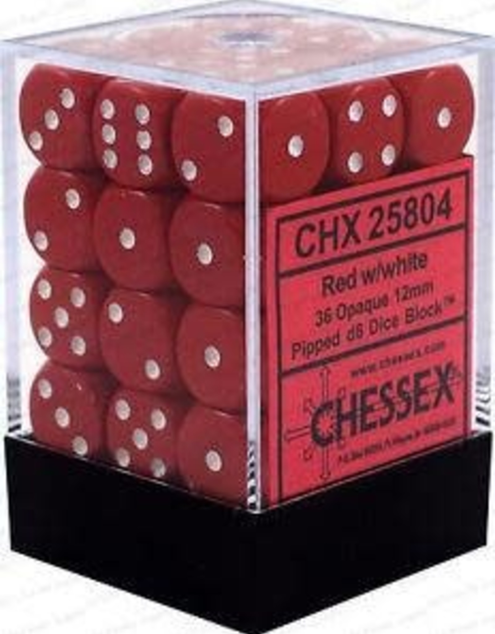 Chessex Dice Block D6 12mm 36ct. - Red/White