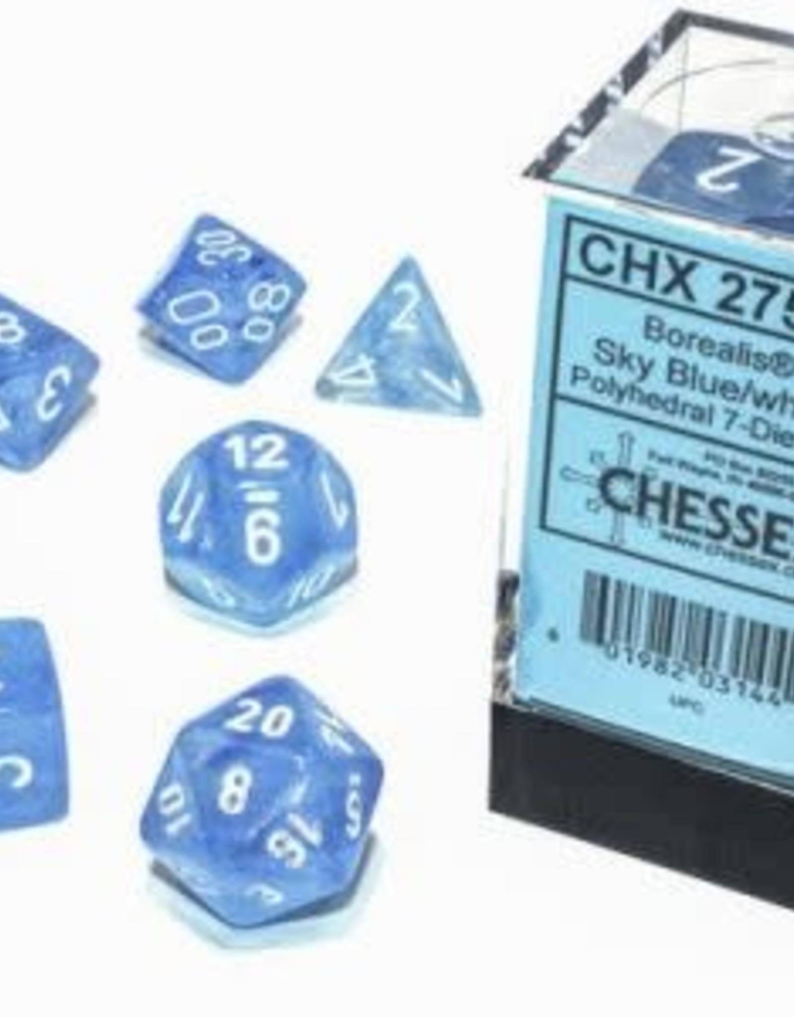 Chessex Dice Block 7ct. - Borealis Skyblue/White