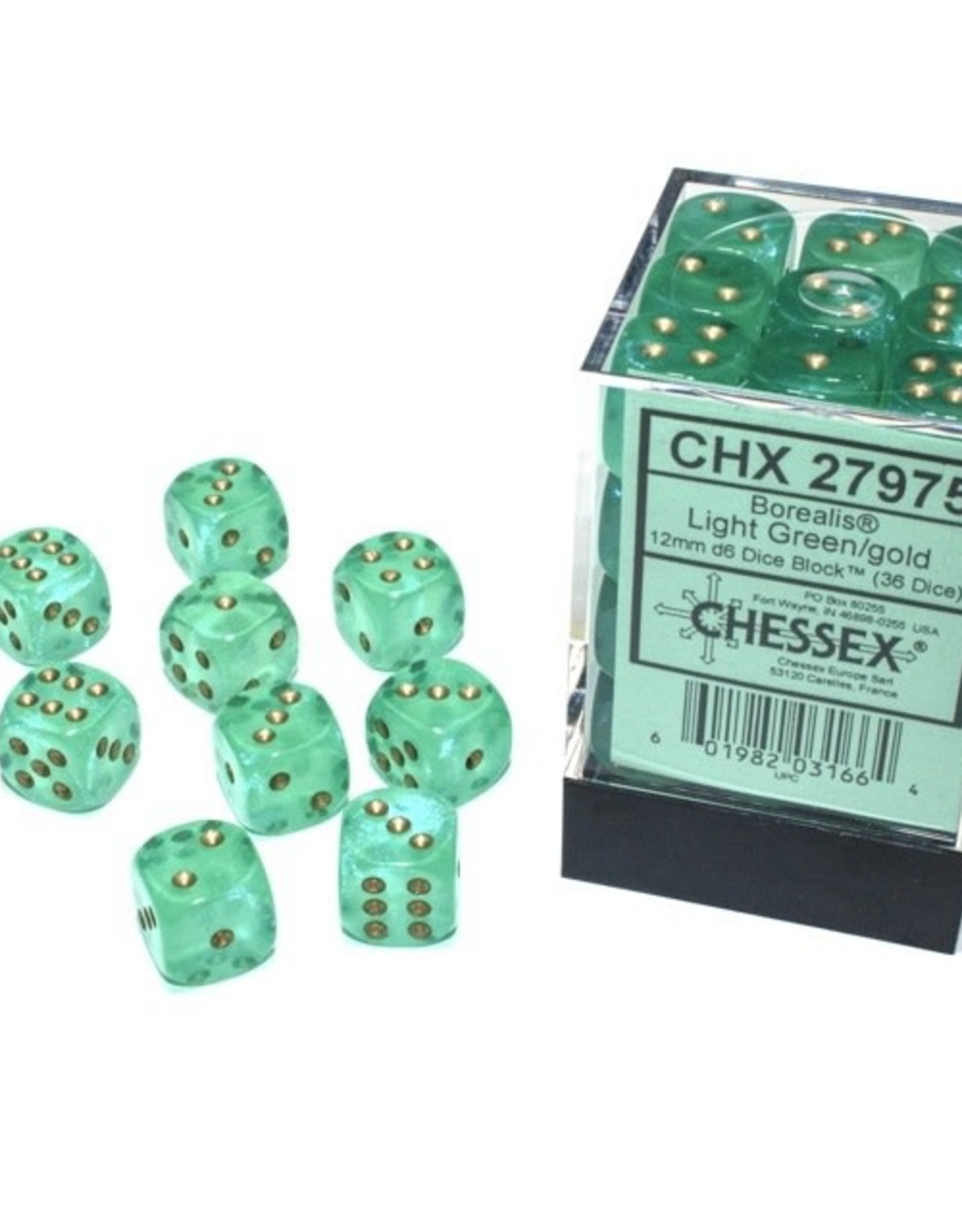 Chessex Dice Block D6 12mm 36ct. - Borealis Light Green/Gold