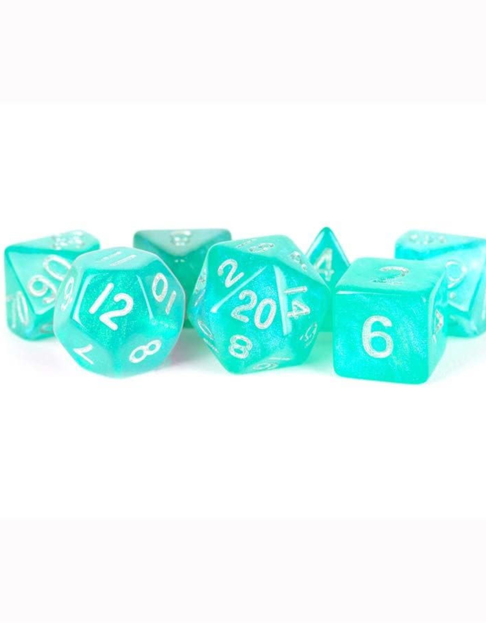 Metallic Dice Games 7ct Poly Acry Stardust: Turquoi