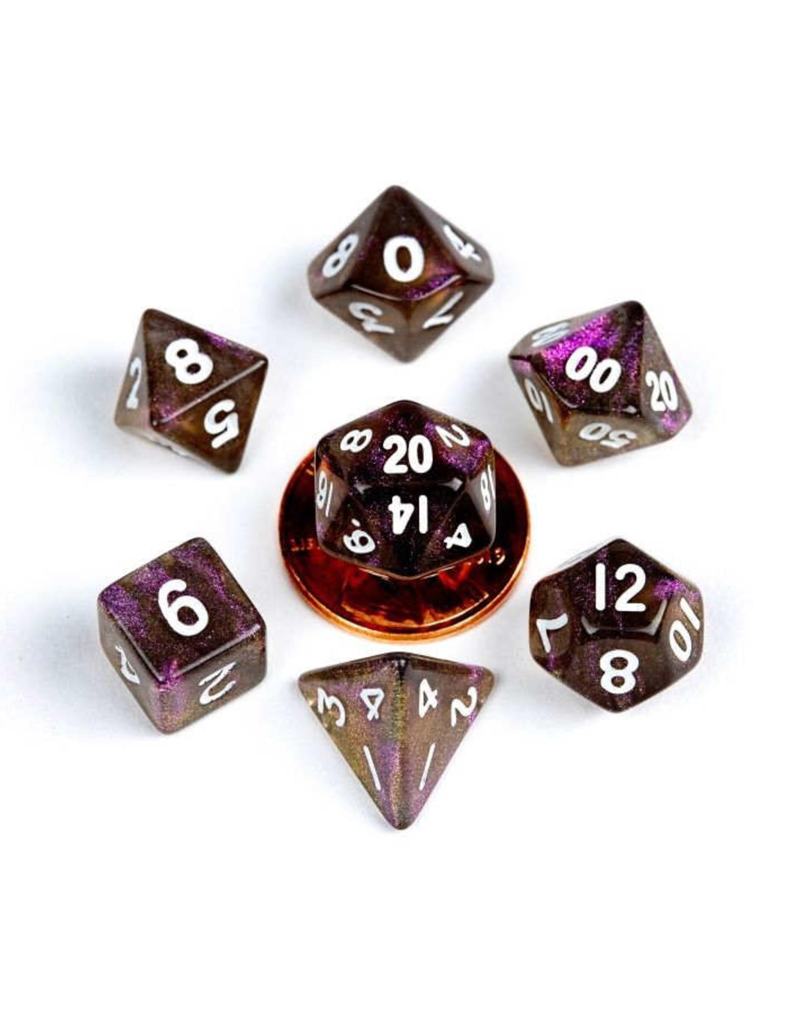 Metallic Dice Games 7ct Mini Poly Dice Set Stardust Supervolcano