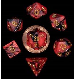 Metallic Dice Games 7ct Mini Poly Dice Set Red Black w/Gold