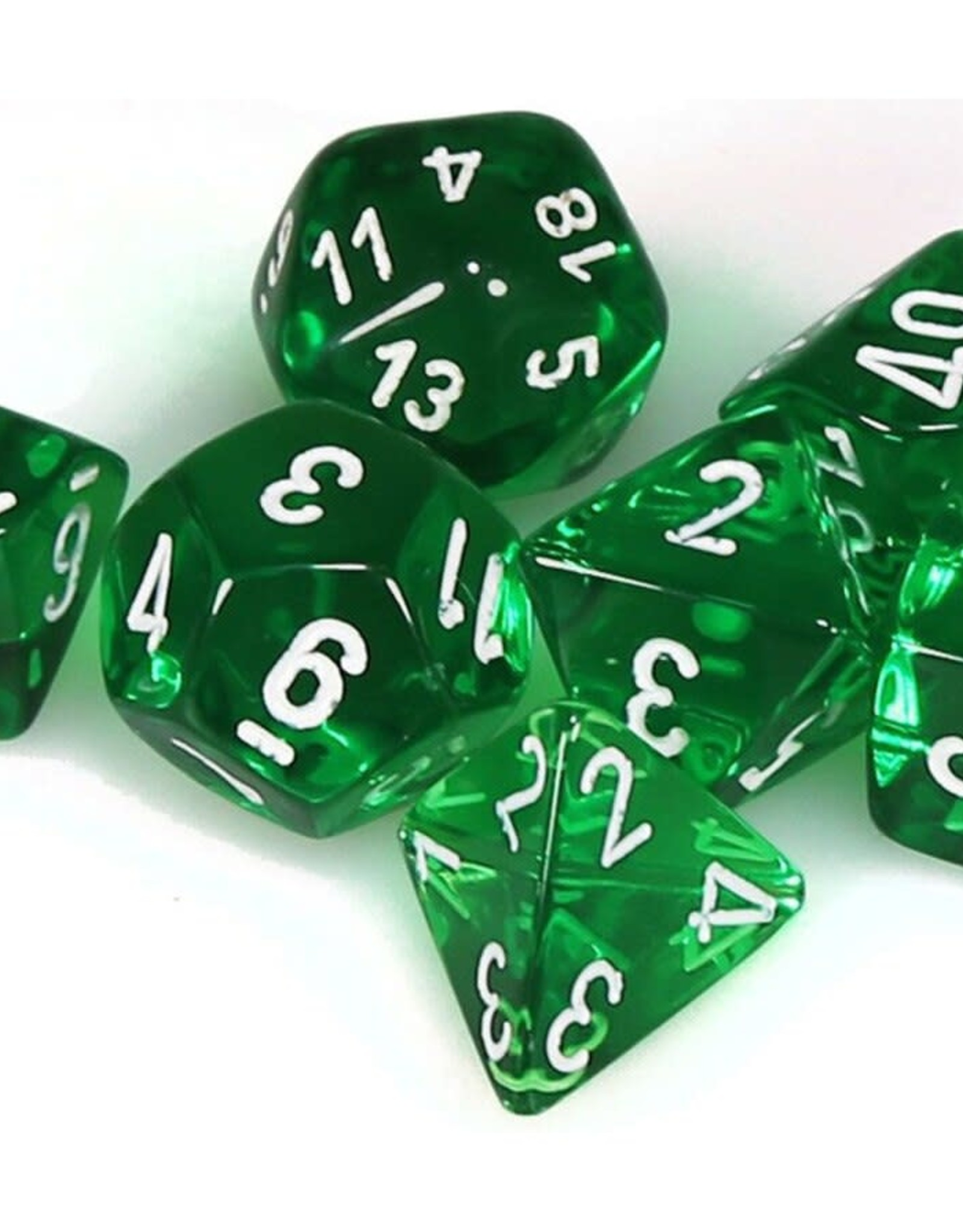 Chessex Dice Block 7ct. - Trans Green/White