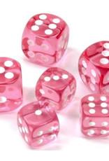 Chessex 12mm 36ct D6 Dice Block: Translucent Pink / White