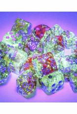 Chessex 7ct Polyhedral Set: Nebula Luminary: Primary w/Blue