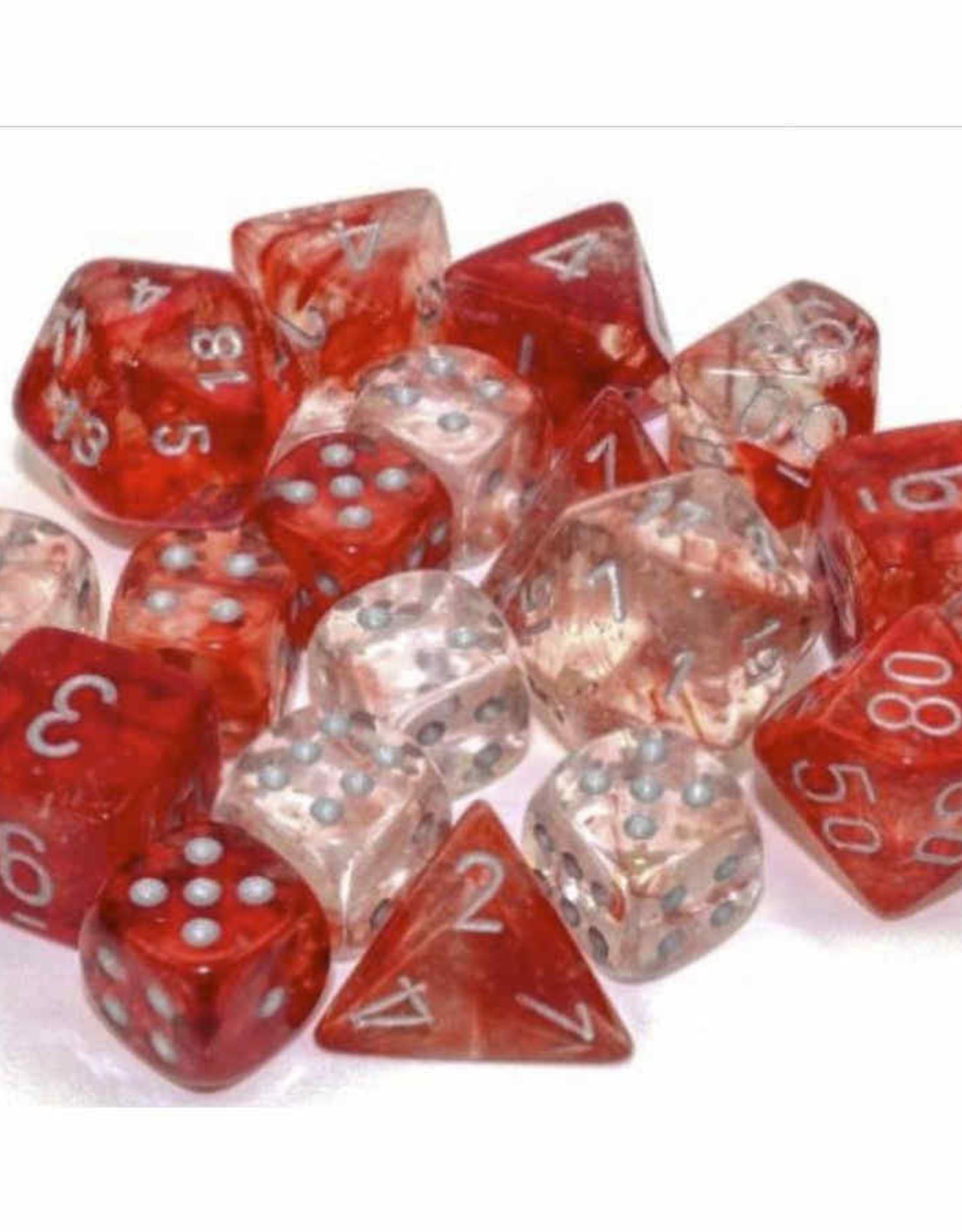 Chessex 12mm 36ct D6 Block: Nebula Luminary: Red w/Silver