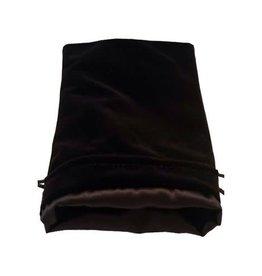 Metallic Dice Games 6in x 8in Large Black Velvet Dice Bag with Black Satin Lining