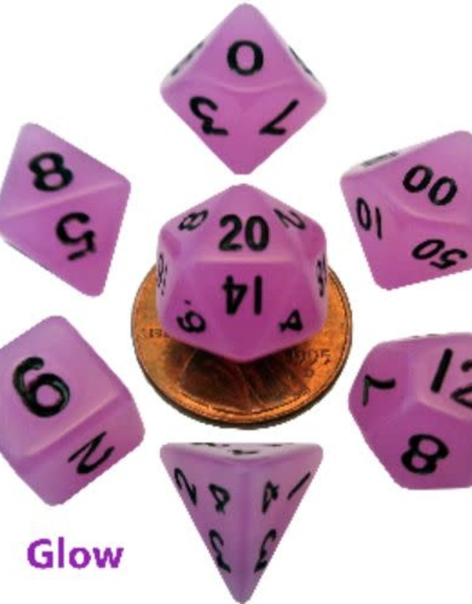 Metallic Dice Games 7 Count Mini Resin Glow Poly Dice Set, Purple