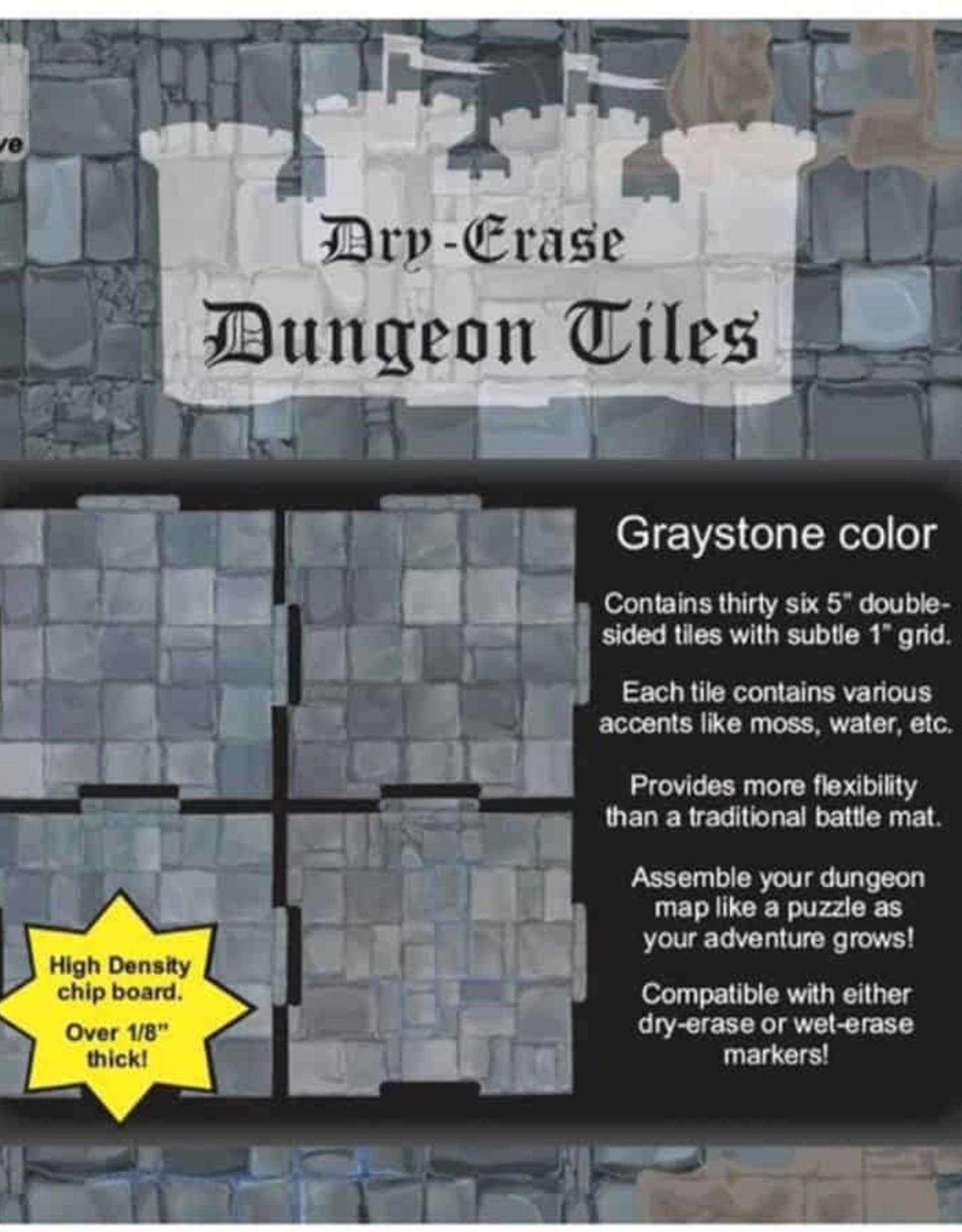 Role 4 Initiative Dungeon Tiles: Dry-Erase Graystone: Pack of Thirty-Six 5-inch Square Tiles