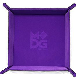 Metallic Dice Games Velvet Folding Dice Tray with Leather Backing: 10in x 10in Purple