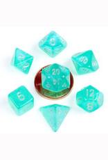 Metallic Dice Games 7ct Mini Poly Dice Set Stardust Turquoise