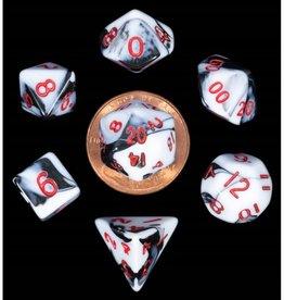 Metallic Dice Games 7ct Mini Poly Dice Set Marble w/Red