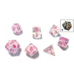 Sirius Dice 7ct Semi-Translucent Poly Dice Set White Cloud And Pink Ink