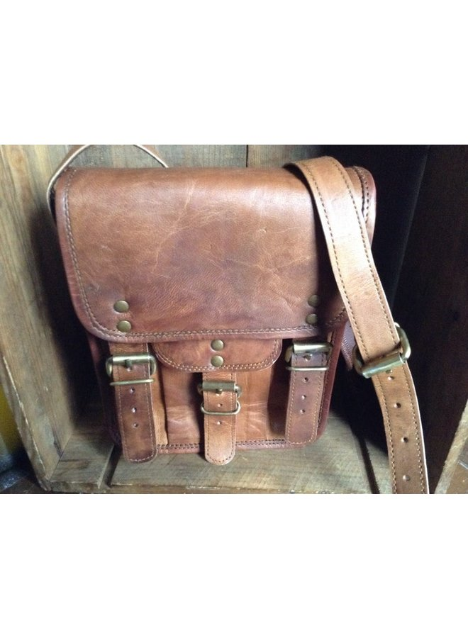 Goat Leather Tall Satchel Cross Body Bag