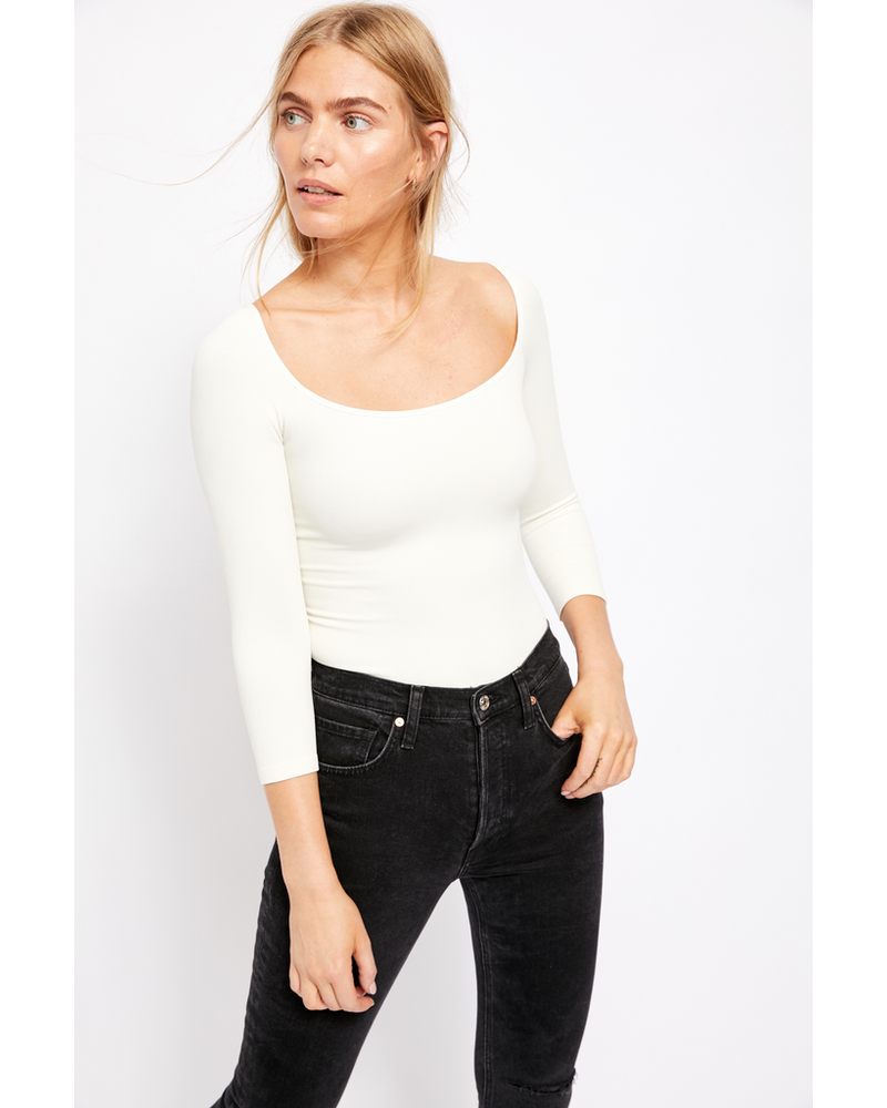 Free People Square Neck 3/4 Sleeve