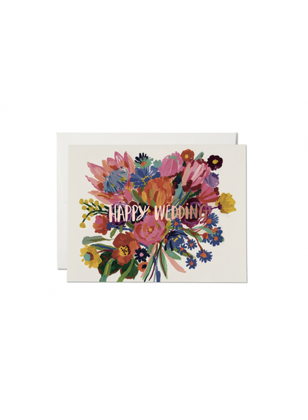 Red Cap Cards Happy Wedding Flowers