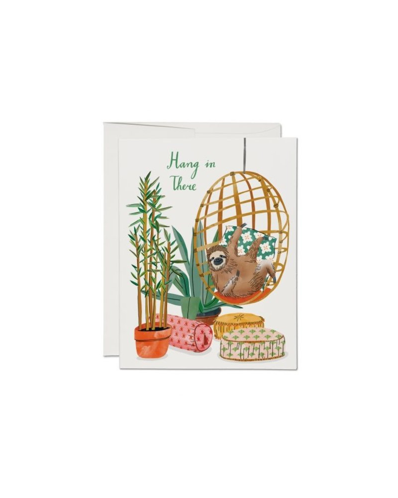 Red Cap Cards Chair Sloth Encouragement Card