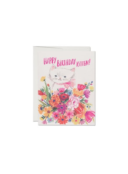 Red Cap Cards Happy B-day Kitten Card