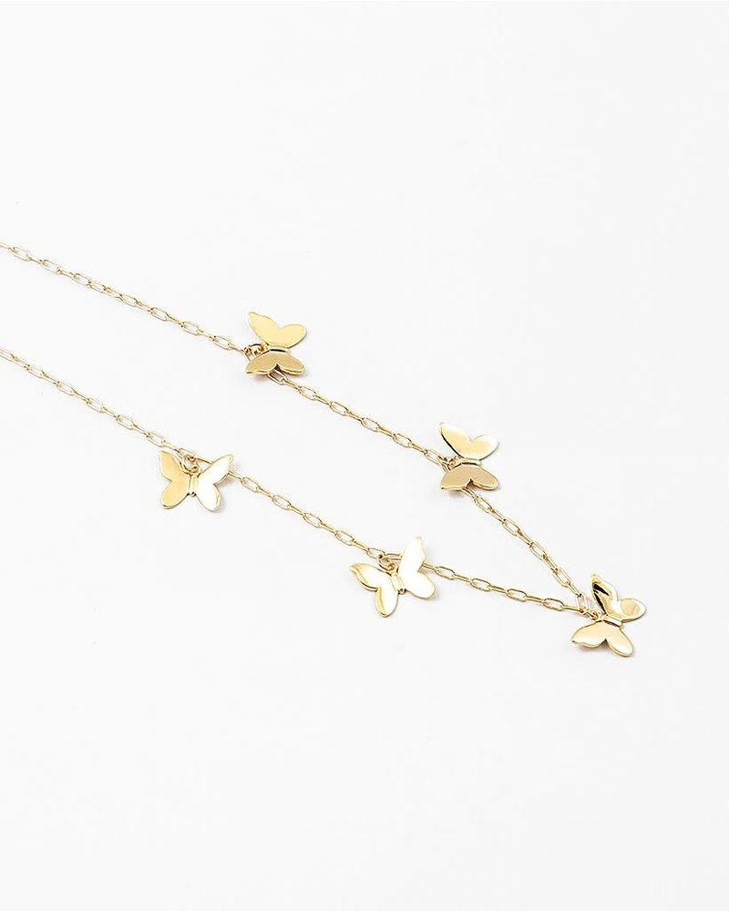 EM & ELLE Gold Link and Butterfly Necklace