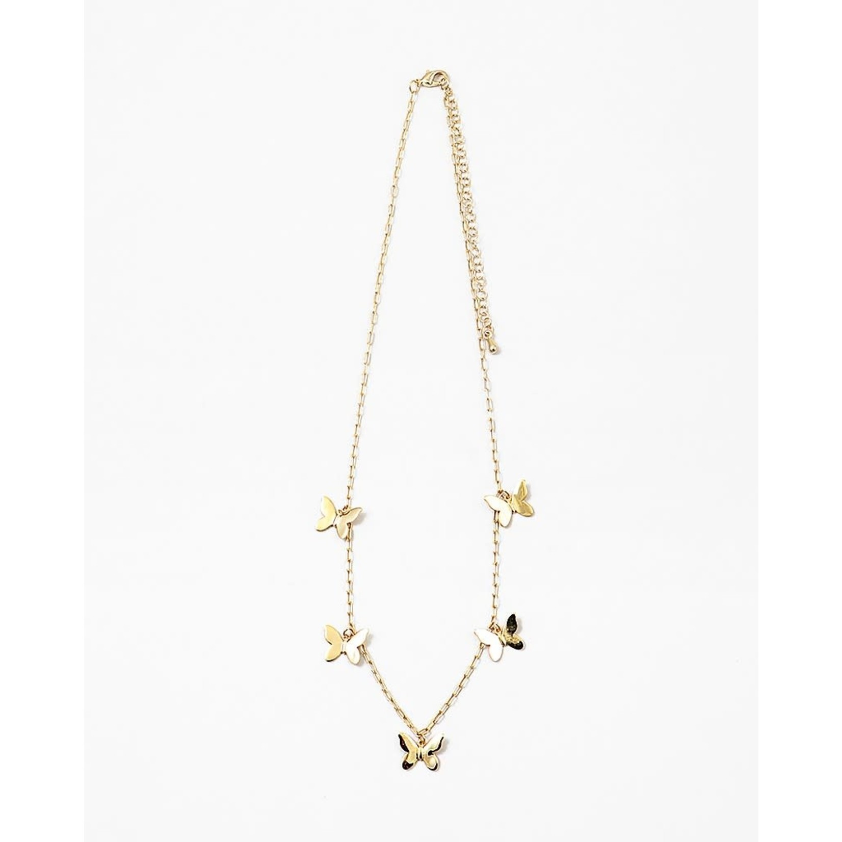 EM & ELLE Gold Link and Butterfly Necklace