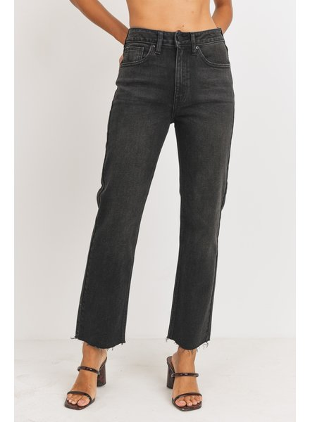 Just Black Denim Ain't it Funny Cut-off Cropped Straight Leg