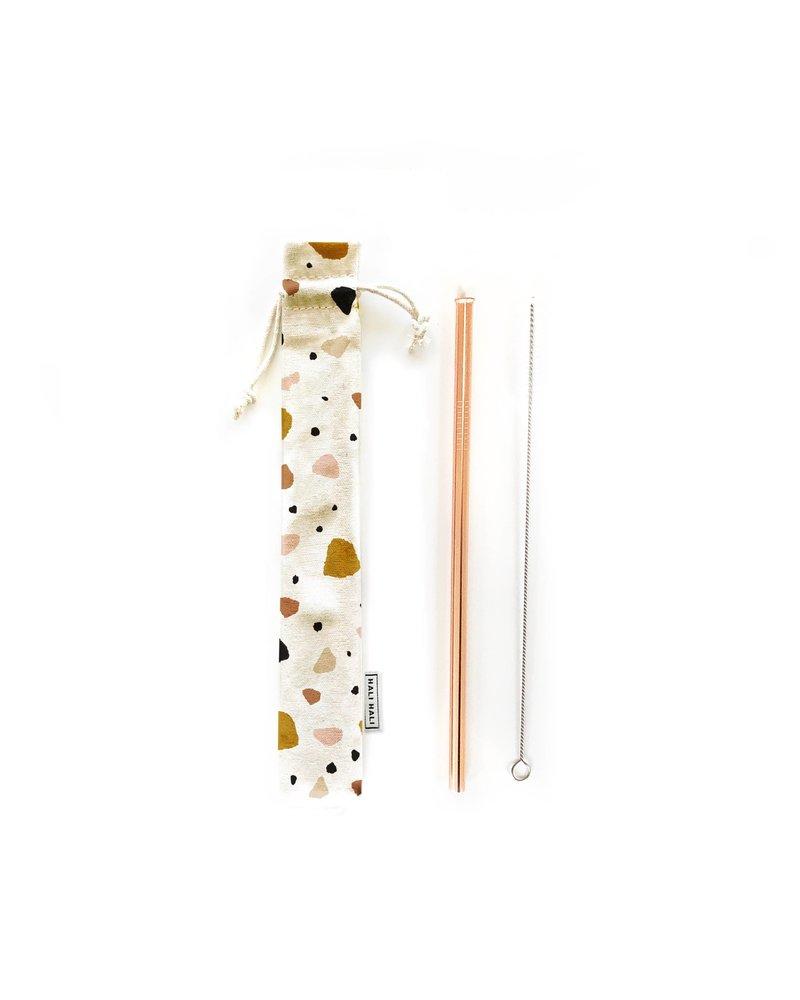 Hali Hali LLC Terrazzo 3 Piece Reusable Straw Set