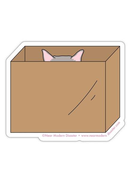 "Near Modern Disaster Cat in Box - 3"" vinyl sticker"