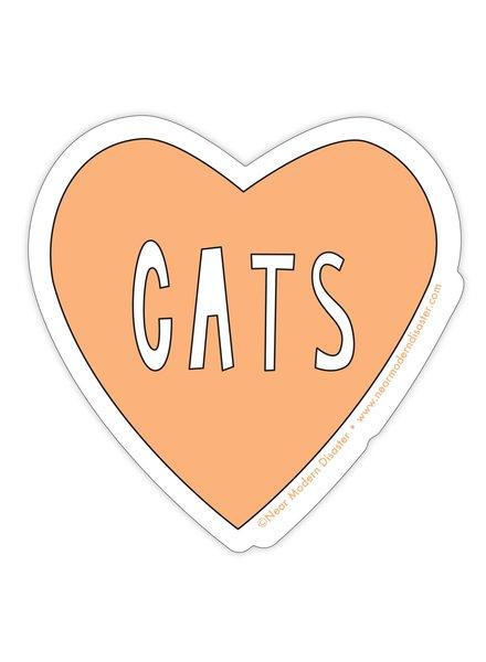 """Near Modern Disaster Heart Cats - 3"""" vinyl sticker"""