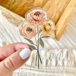 Clear Daffodil and Chrysanthemum Sticker, 3x2in
