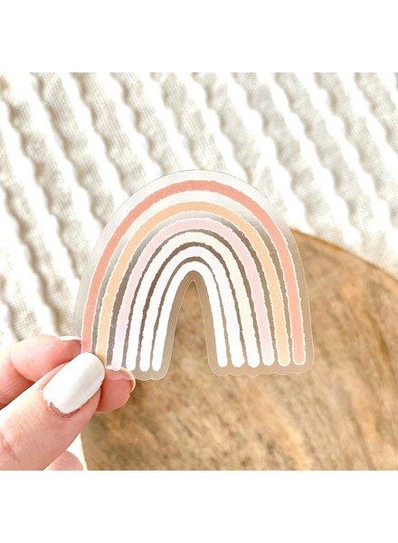Clear Pink Rainbow Sticker 2.5x2.5 IN