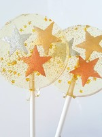 Metallic Stars Lollipop, Champagne