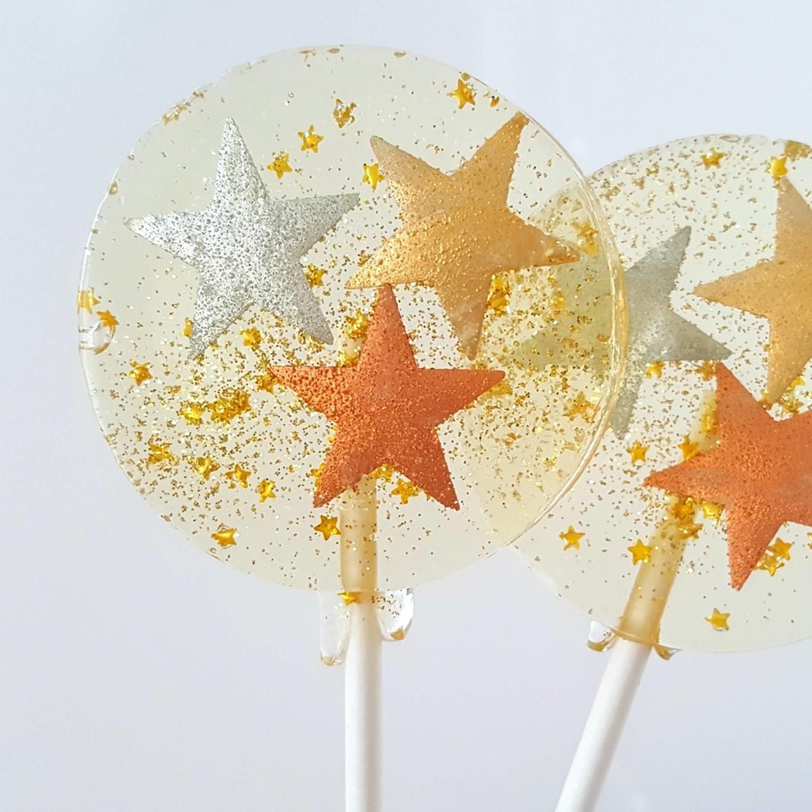 Metallic Stars Lollipop, Champagne